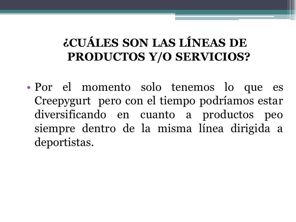 ¿CUÁLES SON LAS LÍNEAS DE PRODUCTOS Y/O SERVICIOS