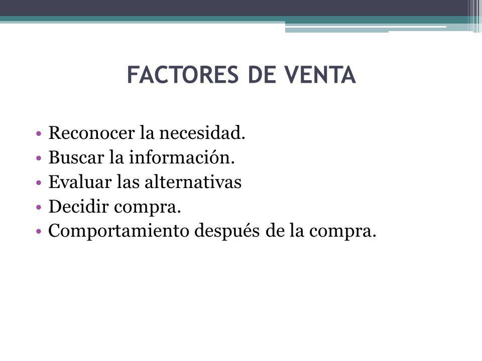 FACTORES DE VENTA Reconocer la necesidad. Buscar la información.