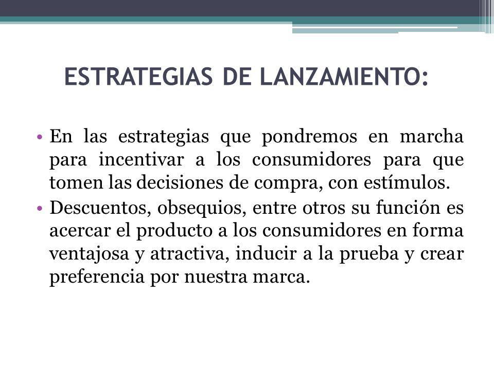 ESTRATEGIAS DE LANZAMIENTO: