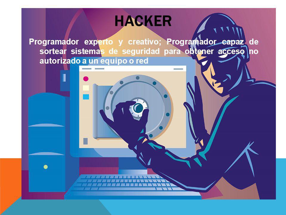 Hacker Programador experto y creativo; Programador capaz de sortear sistemas de seguridad para obtener acceso no autorizado a un equipo o red.