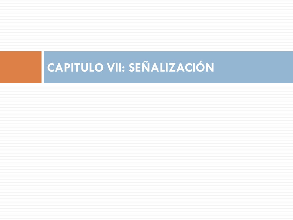 CAPITULO VII: SEÑALIZACIÓN
