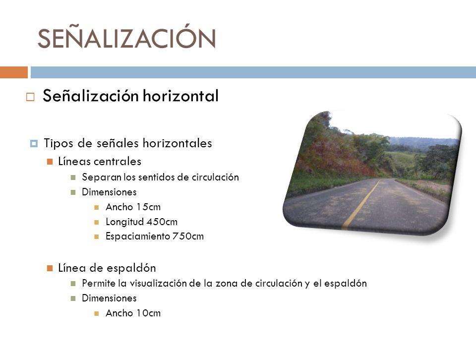 SEÑALIZACIÓN Señalización horizontal Tipos de señales horizontales