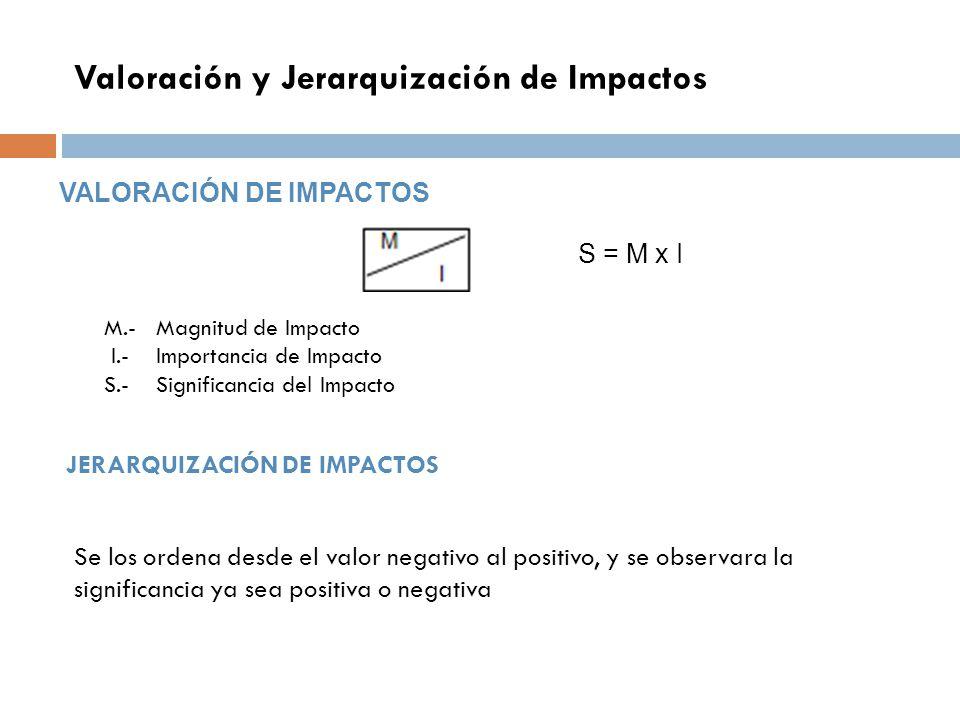 Valoración y Jerarquización de Impactos