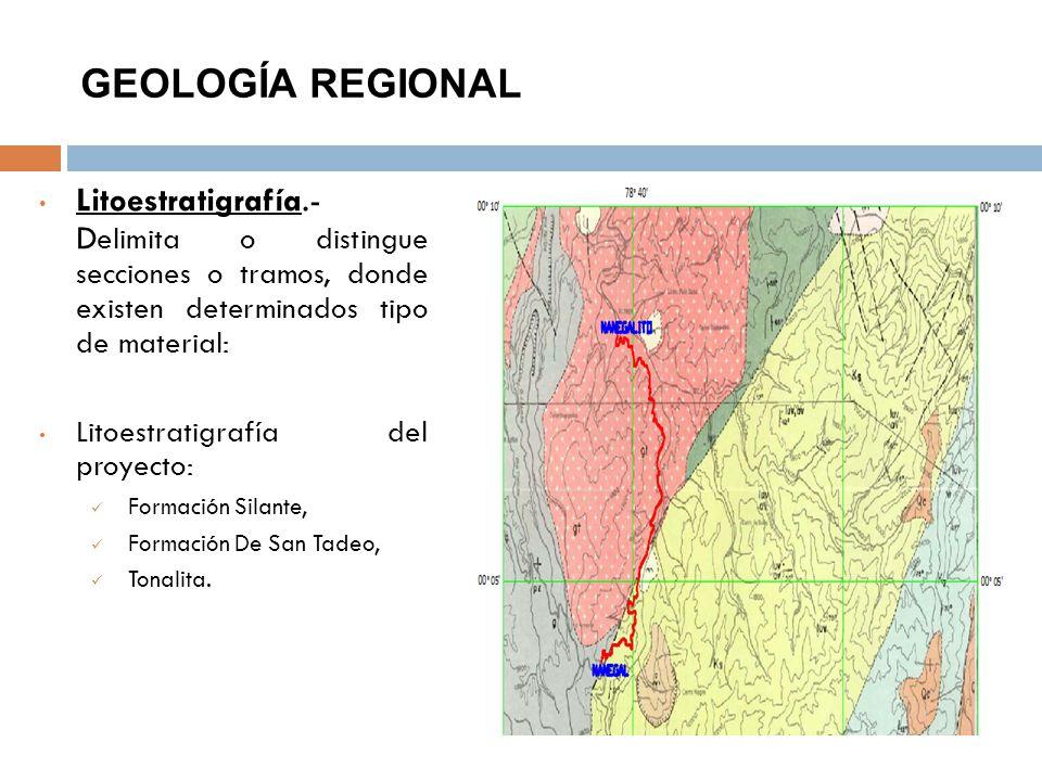 GEOLOGÍA REGIONAL Litoestratigrafía.- Delimita o distingue secciones o tramos, donde existen determinados tipo de material: