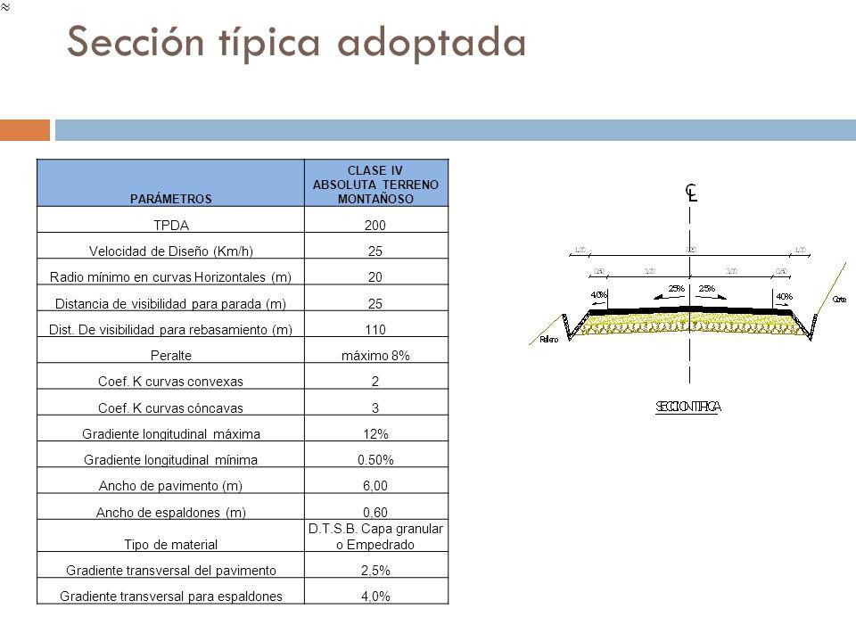 Sección típica adoptada