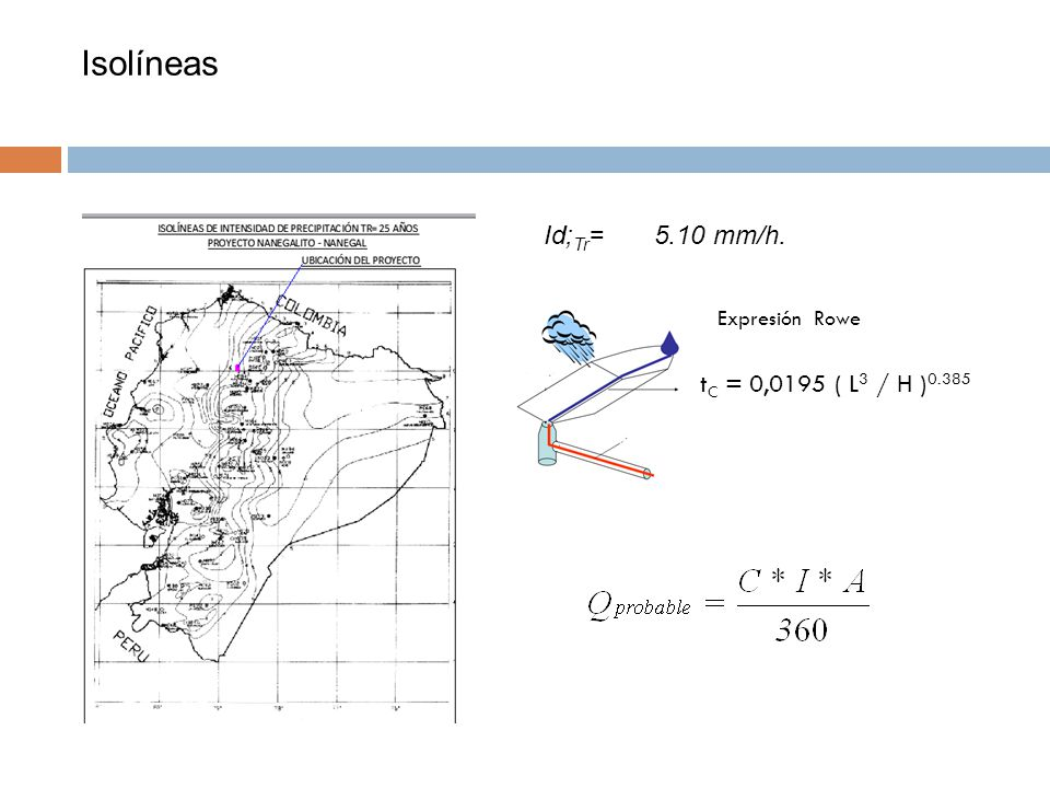 Isolíneas Id;Tr= 5.10 mm/h. Expresión Rowe tC = 0,0195 ( L3 / H )0.385
