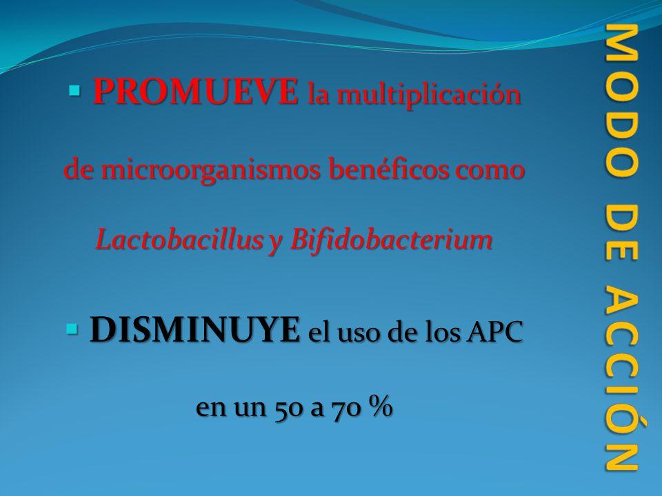 DISMINUYE el uso de los APC en un 50 a 70 %