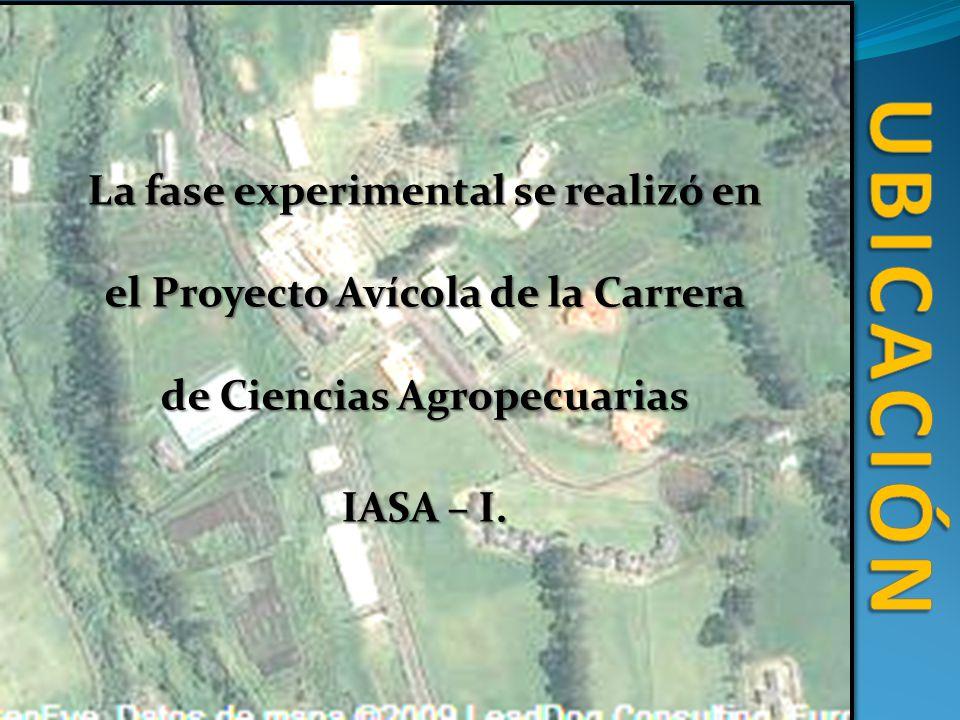 UBICACIÓN La fase experimental se realizó en el Proyecto Avícola de la Carrera de Ciencias Agropecuarias.