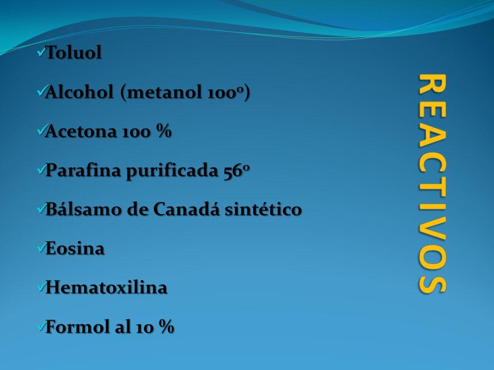 reactivos Toluol Alcohol (metanol 1000) Acetona 100 %