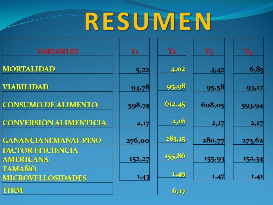 RESUMEN VARIABLES MORTALIDAD VIABILIDAD CONSUMO DE ALIMENTO