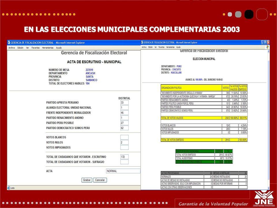 EN LAS ELECCIONES MUNICIPALES COMPLEMENTARIAS 2003