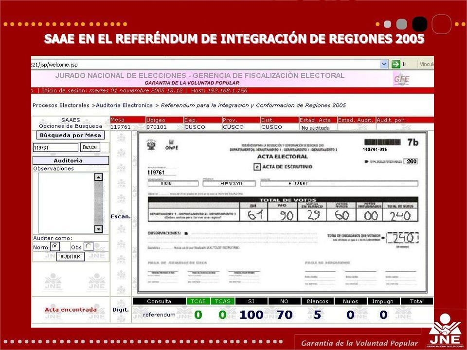 SAAE EN EL REFERÉNDUM DE INTEGRACIÓN DE REGIONES 2005