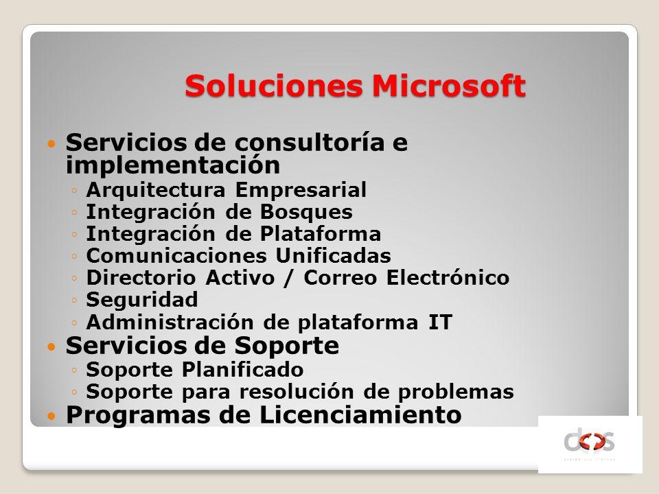 Soluciones Microsoft Servicios de consultoría e implementación