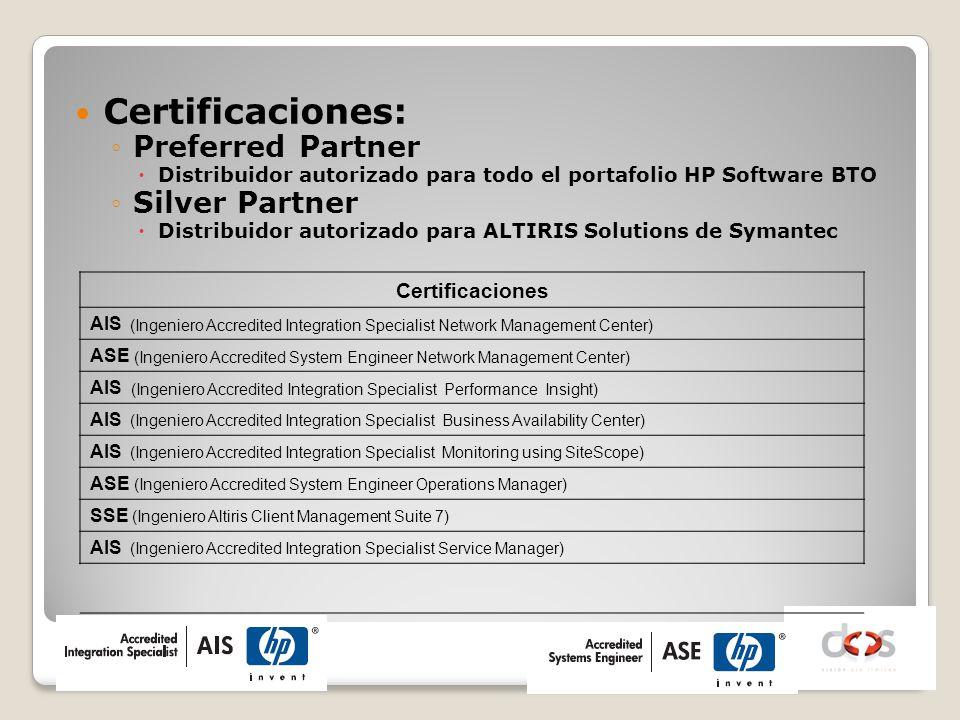 Certificaciones: Preferred Partner Silver Partner Certificaciones