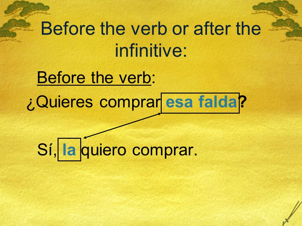 Before the verb or after the infinitive: