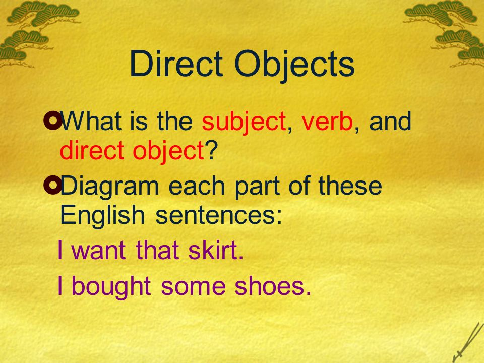 Direct Objects What is the subject, verb, and direct object
