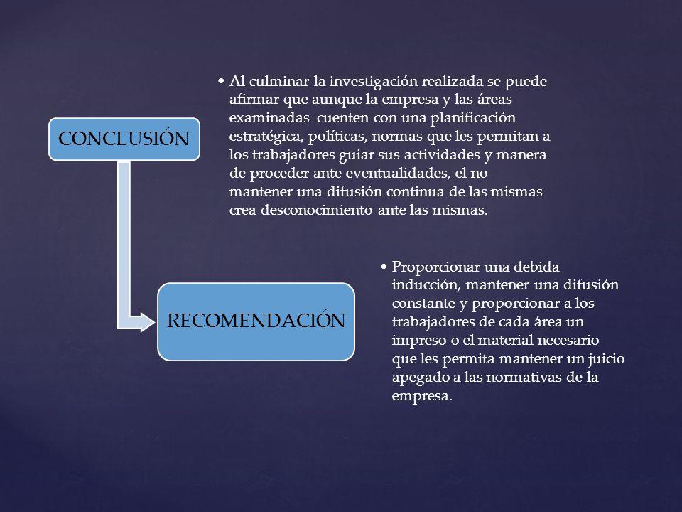 CONCLUSIÓN RECOMENDACIÓN