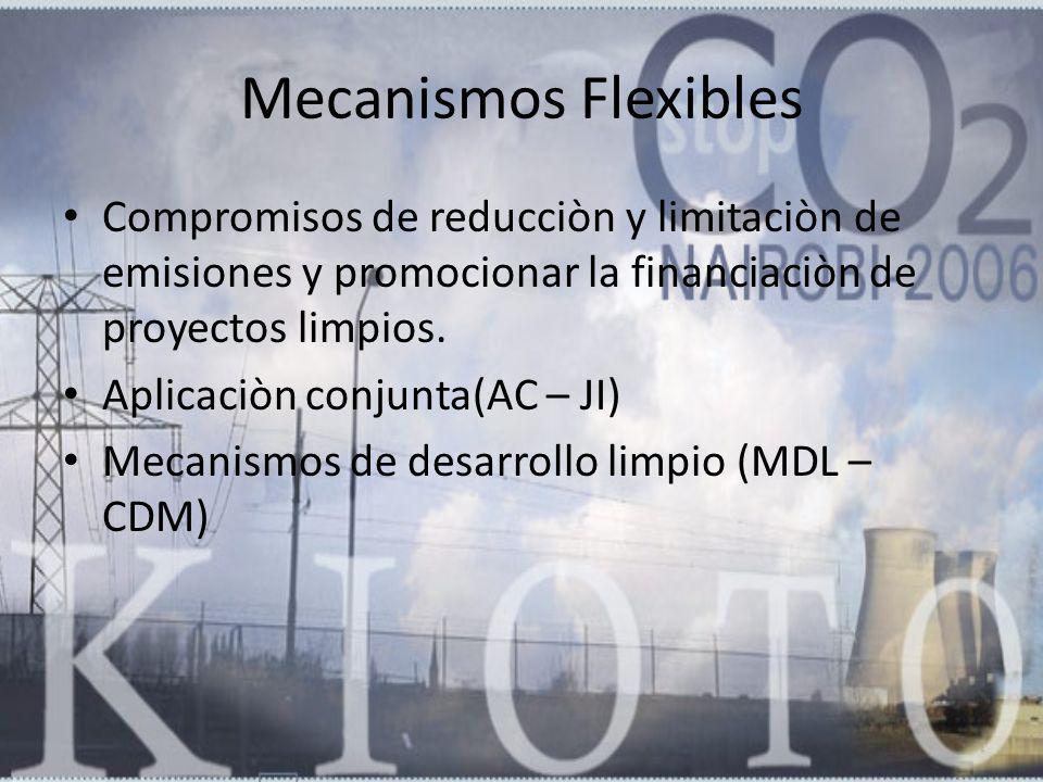 Mecanismos Flexibles Compromisos de reducciòn y limitaciòn de emisiones y promocionar la financiaciòn de proyectos limpios.