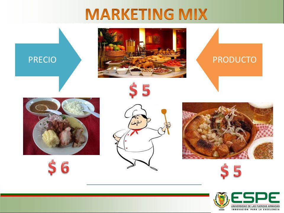 MARKETING MIX PRECIO PRODUCTO $ 5 $ 6 $ 5