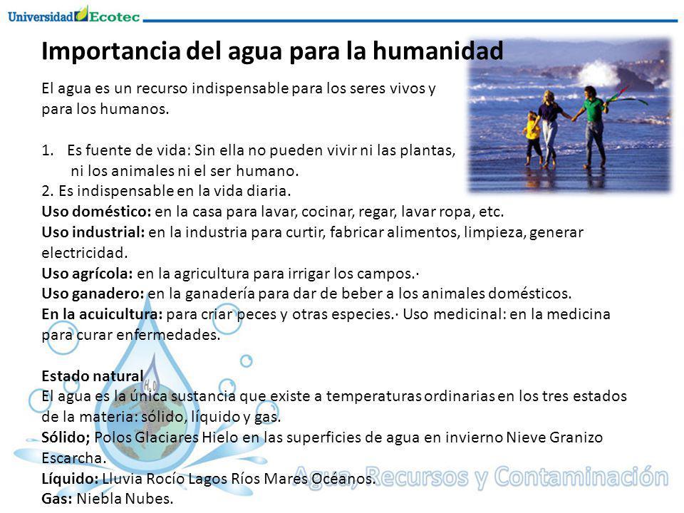 Importancia del agua para la humanidad