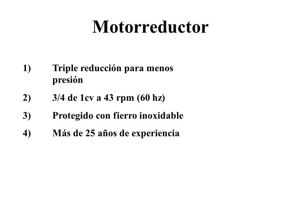 Motorreductor 1) Triple reducción para menos presión