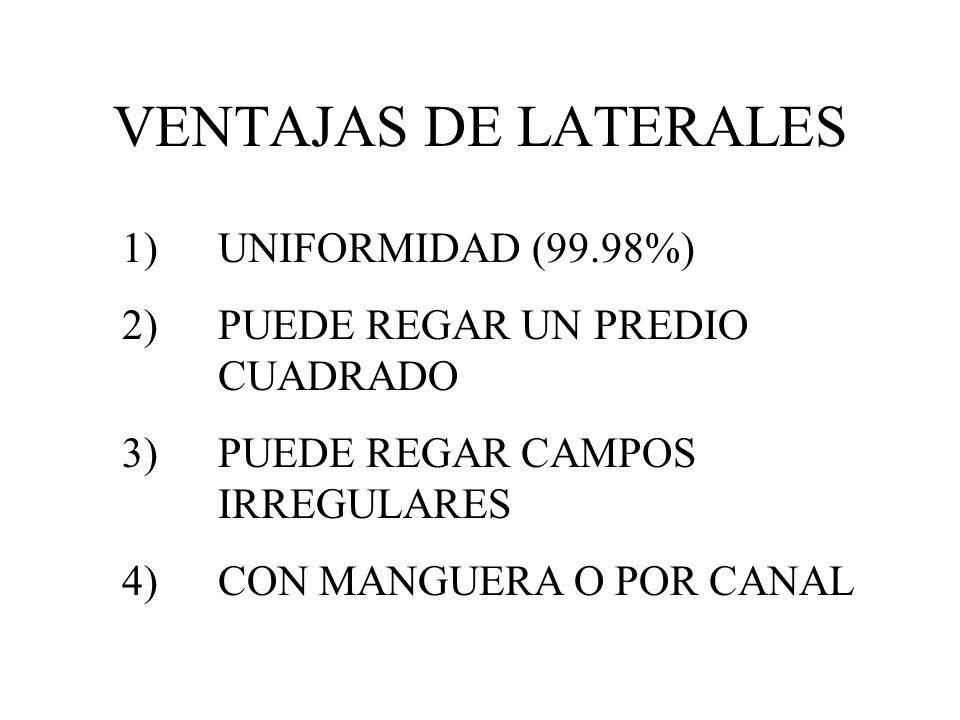 VENTAJAS DE LATERALES 1) UNIFORMIDAD (99.98%)