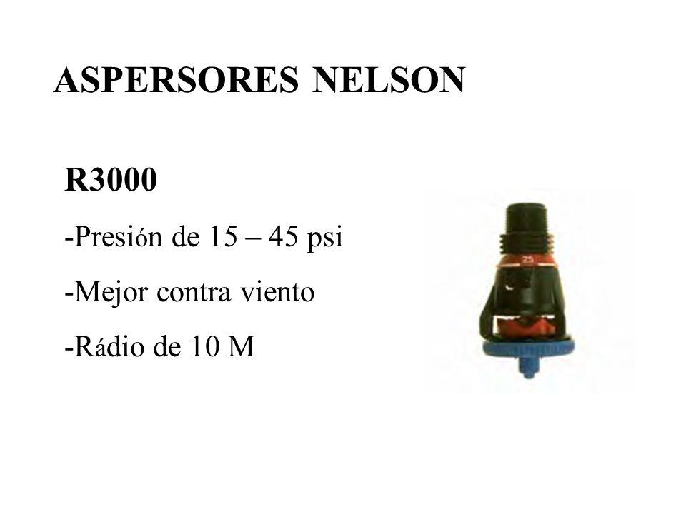 ASPERSORES NELSON R3000 -Presión de 15 – 45 psi -Mejor contra viento