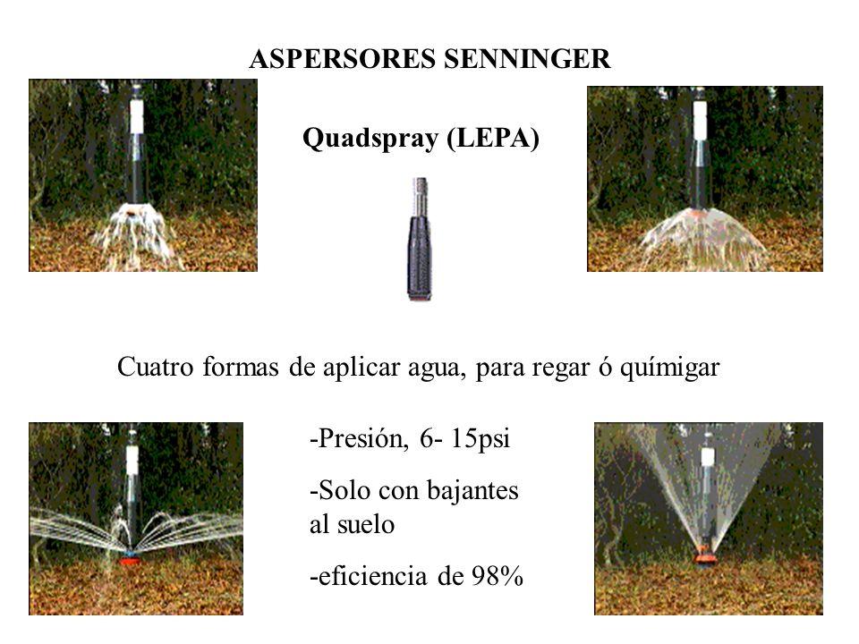 Cuatro formas de aplicar agua, para regar ó químigar
