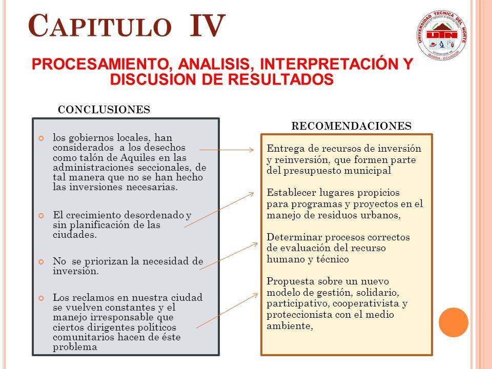 PROCESAMIENTO, ANALISIS, INTERPRETACIÓN Y DISCUSION DE RESULTADOS