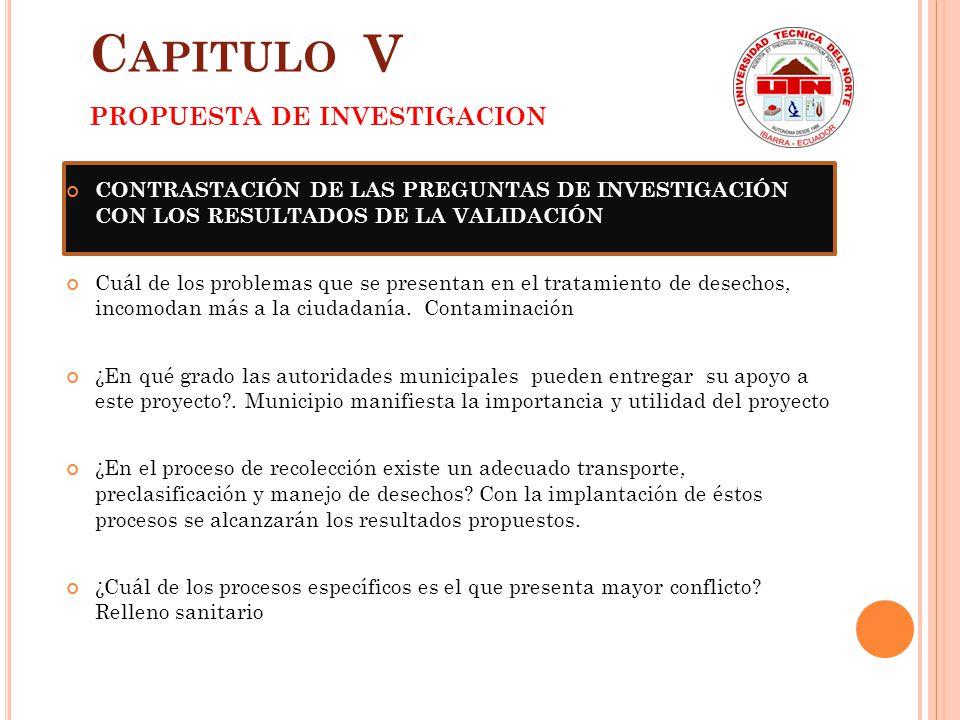 Capitulo V PROPUESTA DE INVESTIGACION