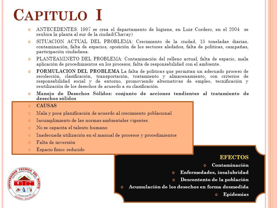 Capitulo I ANTECEDENTES: 1997 se crea el departamento de higiene, en Luis Cordero, en el 2004 se reubica la planta al sur de la ciudad(Chavay)