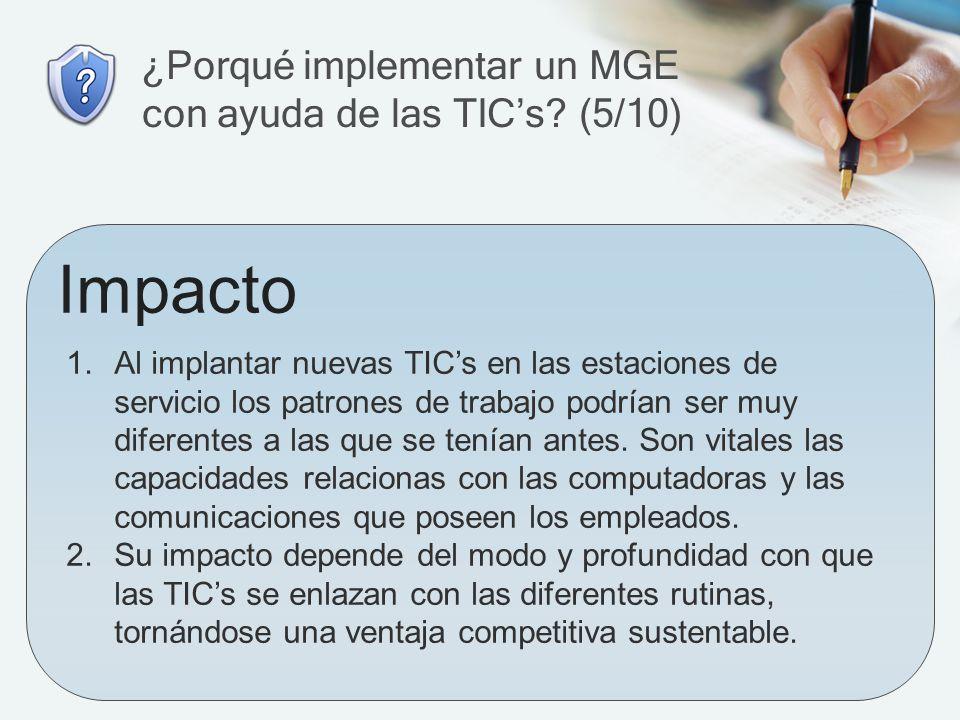 ¿Porqué implementar un MGE con ayuda de las TIC's (5/10)