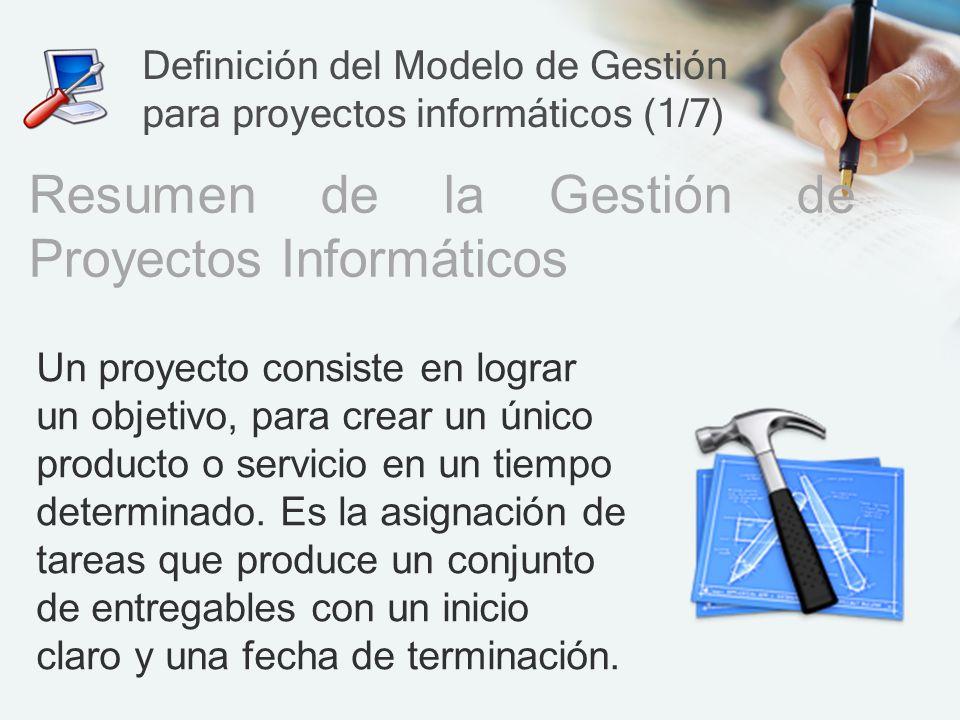 Definición del Modelo de Gestión para proyectos informáticos (1/7)