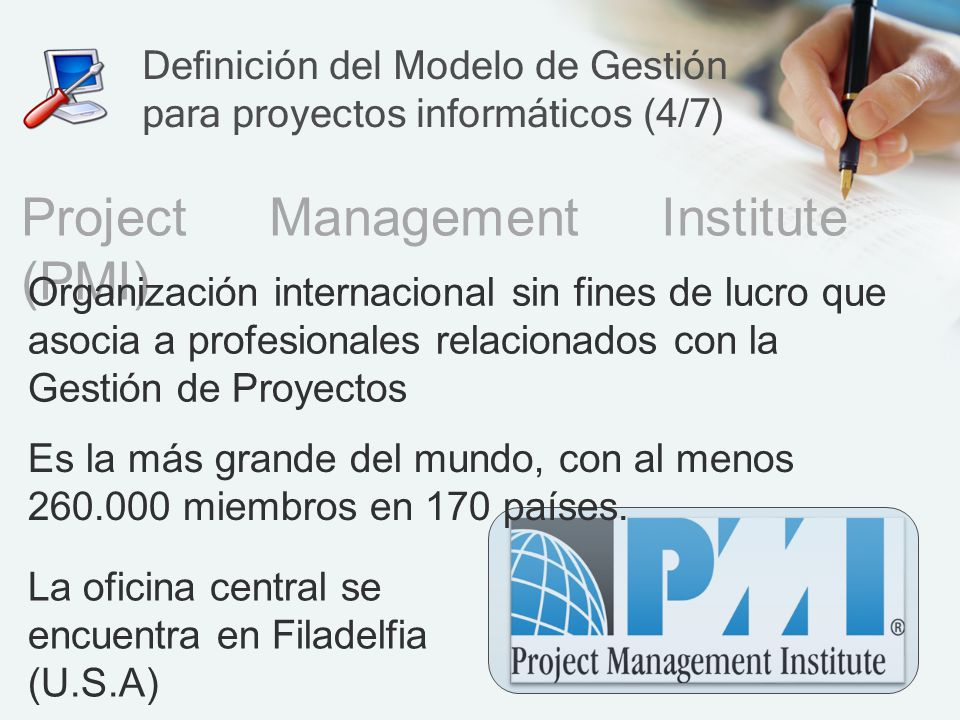 Definición del Modelo de Gestión para proyectos informáticos (4/7)