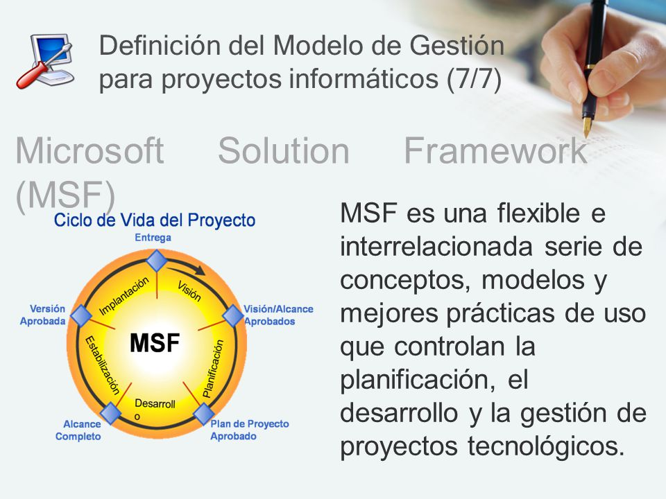 Definición del Modelo de Gestión para proyectos informáticos (7/7)