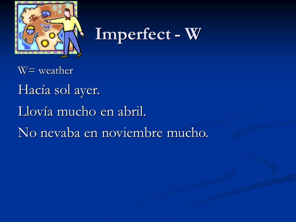 Imperfect - W Hacía sol ayer. Llovía mucho en abril.