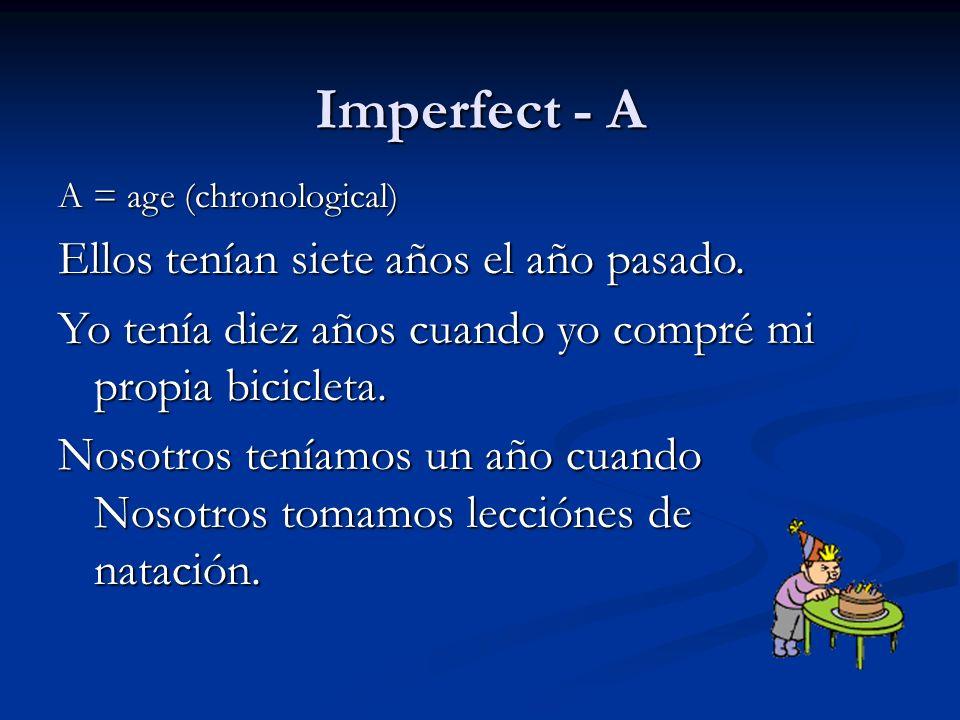 Imperfect - A Ellos tenían siete años el año pasado.
