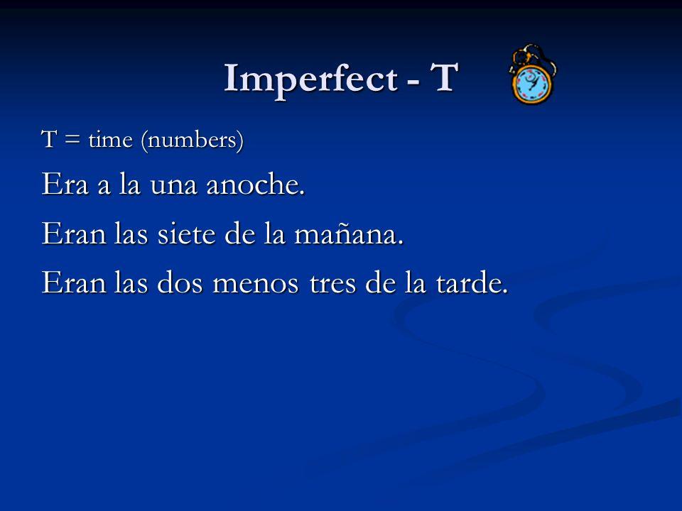 Imperfect - T Era a la una anoche. Eran las siete de la mañana.