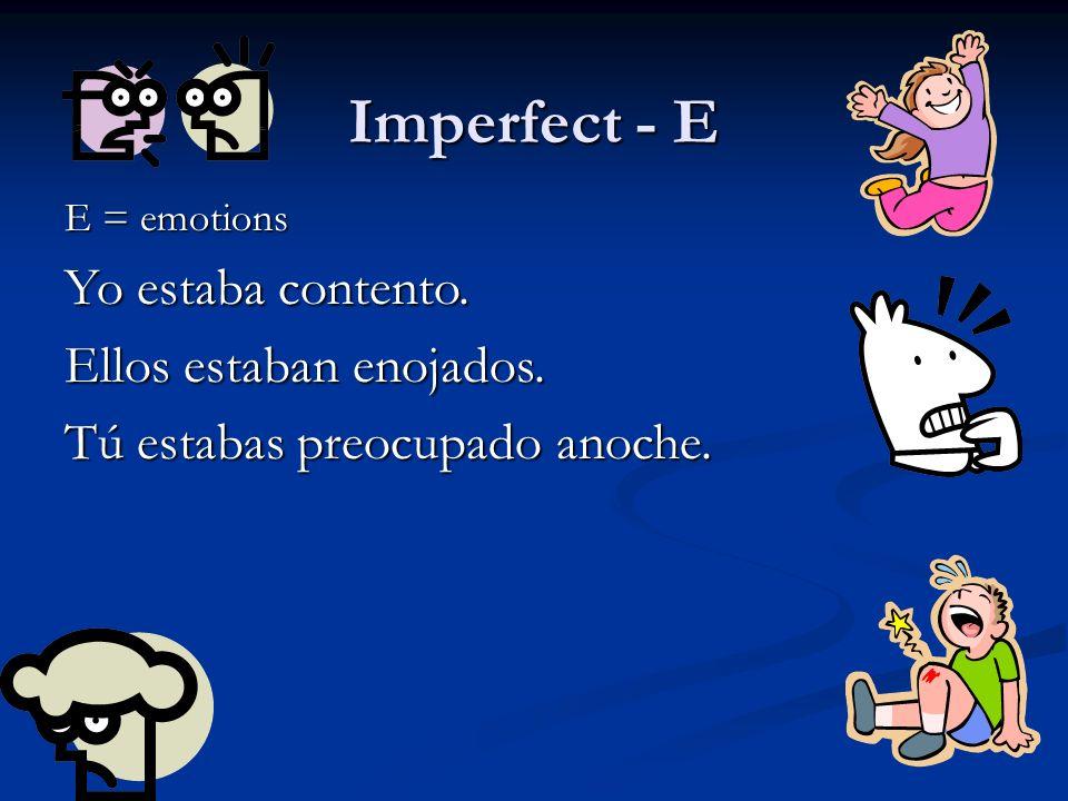 Imperfect - E Yo estaba contento. Ellos estaban enojados.