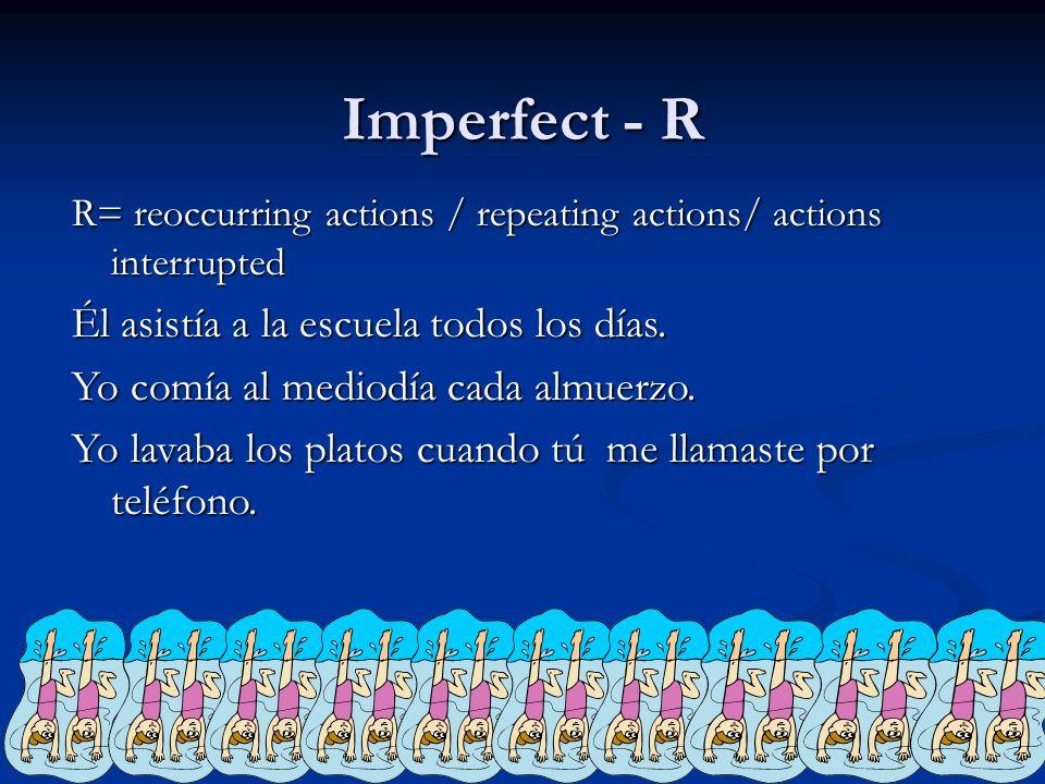 Imperfect - R Él asistía a la escuela todos los días.