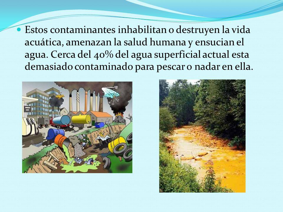 Estos contaminantes inhabilitan o destruyen la vida acuática, amenazan la salud humana y ensucian el agua.