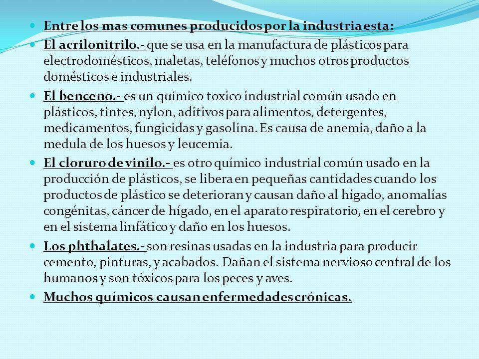 Entre los mas comunes producidos por la industria esta: