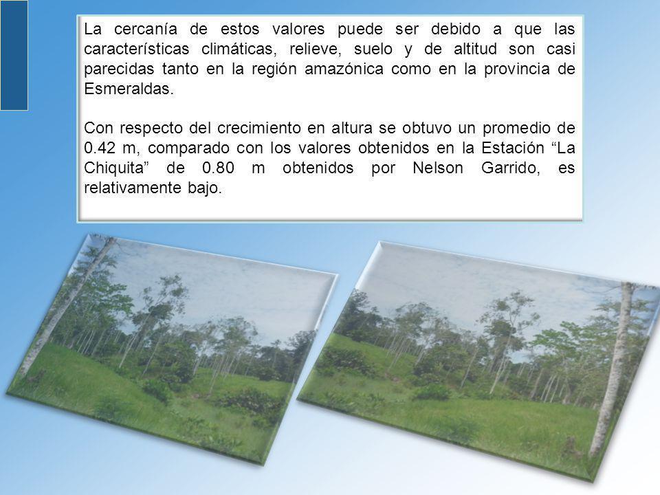 La cercanía de estos valores puede ser debido a que las características climáticas, relieve, suelo y de altitud son casi parecidas tanto en la región amazónica como en la provincia de Esmeraldas.