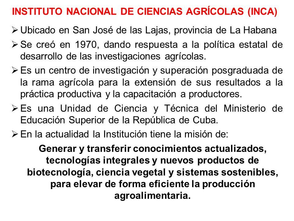 INSTITUTO NACIONAL DE CIENCIAS AGRÍCOLAS (INCA)