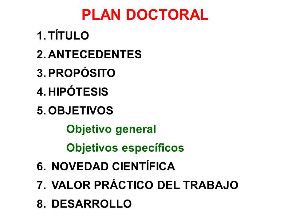 PLAN DOCTORAL TÍTULO ANTECEDENTES PROPÓSITO HIPÓTESIS OBJETIVOS