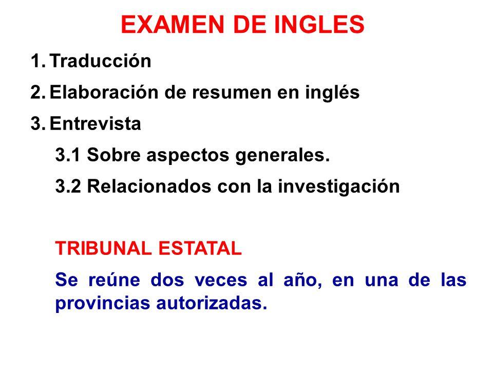 EXAMEN DE INGLES Traducción Elaboración de resumen en inglés