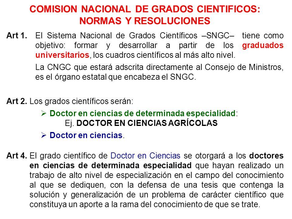 COMISION NACIONAL DE GRADOS CIENTIFICOS: NORMAS Y RESOLUCIONES