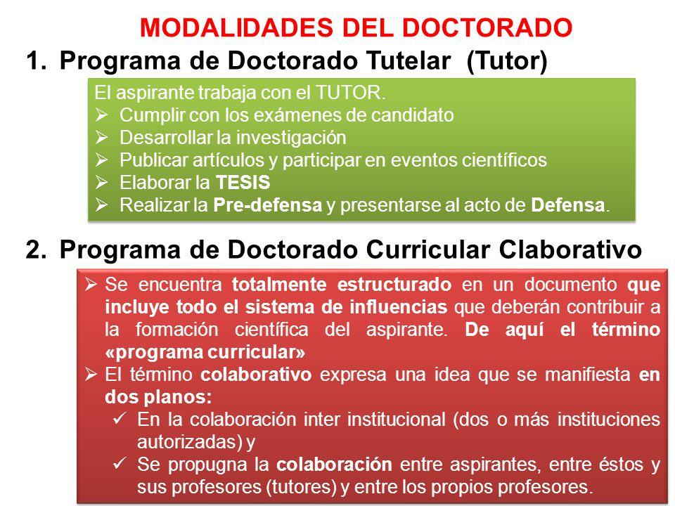 MODALIDADES DEL DOCTORADO