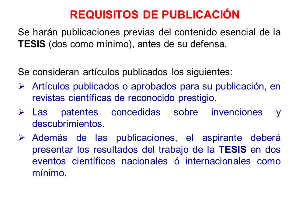 REQUISITOS DE PUBLICACIÓN