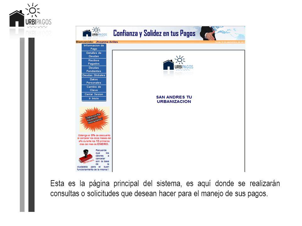 Esta es la página principal del sistema, es aquí donde se realizarán consultas o solicitudes que desean hacer para el manejo de sus pagos.